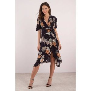 🆕 Black Floral Print Wrap Midi Dress